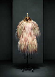Yves Saint Laurent (French, 1936–2008). Evening dress, autumn/winter 1969–70 haute couture. French. Silk, bird-of-paradise feathers. The Metropolitan Museum of Art, New York, Gift of Baron Philippe de Rothschild, 1983 (1983.619.1a, b). Photo © Nicholas Alan Cope #ManusxMachina #CostumeInstitute