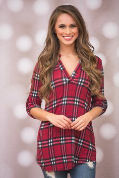 The Pink Lily - Every Day With You Plaid Blouse Red, $42.00 (https://pinklily.com/every-day-with-you-plaid-blouse-red/)