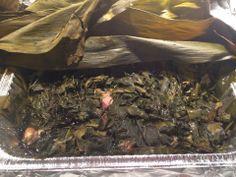 Pan Lau Lau Made by Ono Kine sis-in-law Yoko Nuuhiwa  Ingredients 3-5 lb. boneless pork, beef or chicken 2 tsps. liquid smoke 4 lbs. luau leaves 6-8 Ti leaves 1/4 cup Shoyu (soy sauce)  2  tbsps. Hawaiian salt  Cut and discard stems from ti leaves.