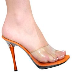 """4"""" Karo's Clear Mule Slide Shoes with an Orange Metal High Heel - Sizes 5-10. #0980 