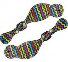 LADIES SIZE Rainbow chevron print spur straps.- LADIES SIZE Rainbow chevron print spur straps.