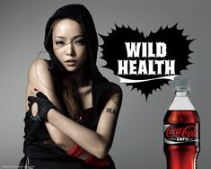 This is an advert used in Japan selling Coca- Cola Zero. The design is kept simple with a coke bottle on the bottom right, a model on the left side and a catch phrase next to the model. The advert may look like the focus is on the model since she is taking up the space and is bigger than the picture of the product. However the color of the model and the clothes that she is wearing is mostly black and her skin is turned pale or may be a little gray, so the audience's attention may shift.