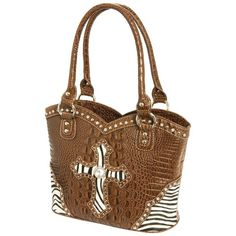 """Style Cross Purse Exterior features genuine cowhide inlay with zebra print design; faux crocodile embossed body; rhinestone and studded details; and top-zip closure. Back has cell phone pouch and zippered pocket. Interior features 2 zippered pockets and 3 pouches to organize all your essentials. Measures 13"""" x 9-1/2"""" x 5"""". Bags Shoulder Bags"""