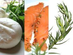 3 ingrédients = 1 recette - Mozzarella   Saumon mariné   Estragon