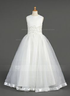 A-Line/Princess Scoop Neck Floor-Length Organza Flower Girl Dress With Lace Beading (010014604)