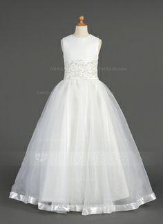 Corte A/Princesa Escote redondo Vestido Organdí Vestido para niña de arras con Cordón Abalorios (010014604) - JJsHouse