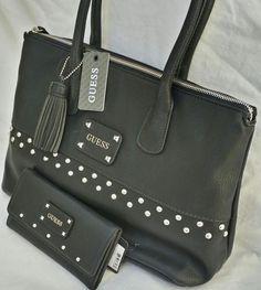 black+guess+handbags | Gorgeous Guess Black Studded Satchel Handbag Purse Amp Wallet Gift ...