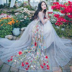 Thailand Beach Dress Luxury Embroidery Fairy Dresses Sweet Princess Ball Gown Mesh Perspective Dress Slim Jacquard Flower