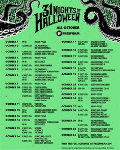 Freeform's 31 Nights Of Halloween Schedule 2021 - Drugstore Divas