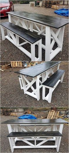 Custom designed outdoor pallet furniture is shown out for you right into this image. This outdoor furniture is featuring you out with the dining table and bench artwork that are roughly designed in an old designing approaches. Make it part of your house outdoor areas right now! #outdoorfurnituresummerhouse