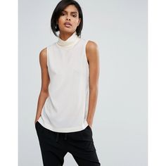 French Connection Poly Plains Sleeveless Roll Neck Top ($39) ❤ liked on Polyvore featuring tops, cream, roll neck top, french connection, french connection tops, sleeveless tops and cream sleeveless top