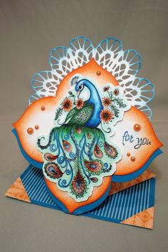 Paisley Peacock Diamond Spring Card by Joan_D - Cards and Paper Crafts at Splitcoaststampers