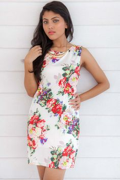 Printed Floral Dress With Golden Neck Piece