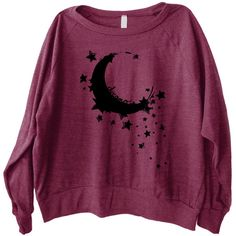 Moon Dreamer Graphic Printed on Women's American Apparel Long Sleeve... ($32) ❤ liked on Polyvore featuring tops, sweaters, black, pullovers, women's clothing, sweater pullover, graphic sweaters, black pullover, long sleeve tops and graphic tank tops