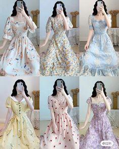 Korean Fashion Dress, Korean Dress, Kpop Fashion Outfits, Fashion Dresses, Cute Skirt Outfits, Cute Casual Outfits, Cute Dresses, Casual Dresses, Simple Frock Design