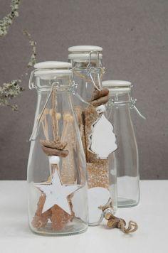 Glass bottles with swing top, for hangin 1 Mason Jar Wine Glass, Glass Bottles, Bella Rose, White Home Decor, Vintage Christmas, Latte, Homemade, Tableware, Swing Top