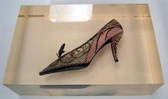 Evening shoes of silk, leather, glass beads, sequins; Roger Vivier for Dior; 1957.