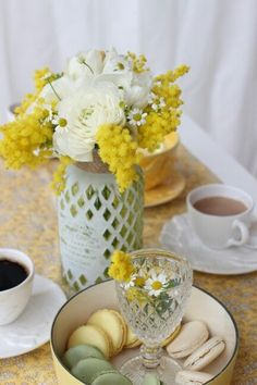 Raindrops and Roses : Photo Festa delle donne (Colazione) Mimosas, Raindrops And Roses, Yellow Cottage, Yellow Tulips, Cottage Interiors, Spring Home, Mellow Yellow, Pantone Color, Tea Party