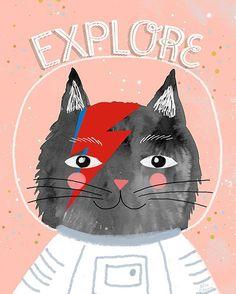 """Explore the universe. Bowie tribute. #miacharro #cat #bowie #watercolor #universe #astronaut #nurserydecor #wallart #acuarela #gato #instaart"""