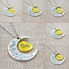 I Love You To The Moon And Back Silver Necklace Vintage Family Necklaces