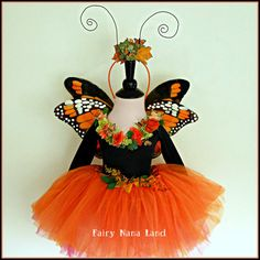 Monarch Butterfly Fairy Costume - fits chilrens  sizes 2 to 4 - Halloween - Flower Girl - Birthday via Etsy
