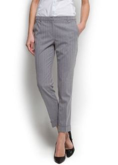 Mango Women's Striped Suit Trousers, Light Grey, 2 Light Grey 2 MANGO. $59.99