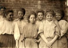 A group of young girls who worked at a cotton mill together in Georgia, circa 1909. Knowing the awful conditions in the mills, it's surprising to see these girls pull off smiles. It's a truly beautiful photo.