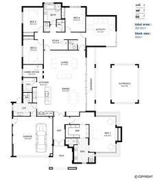 4 bedrooms/ bathrooms/ kitchen- pantry/ dinning/ living/ study/ activity/ home office/ laundry/ alfresco/ 2 car garage Home Design Floor Plans, Plan Design, Dream House Plans, House Floor Plans, Bathroom Floor Plans, Study Nook, Container House Plans, Floor Layout, Cottage Plan