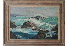 Large Seascape Painting on OneKingsLane.com. Original vintage  art from Anna Hackathorn Interior Design.