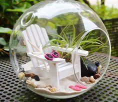 "Beach Terrarium ~ White Adirondack Chair with Sunglasses and Flip Flops ~  Air plant ~ 7"" Glass Round Globe ~ Beach Decor ~ Great Gift Idea by BeachCottageBoutique on Etsy"