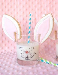 Bunny ear cookies and milk