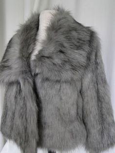 NWT-Adrienne-Landau-coat-Fab-Faux-Fox-FUR-Jacket-gray-Sz-small-HSN-new-199
