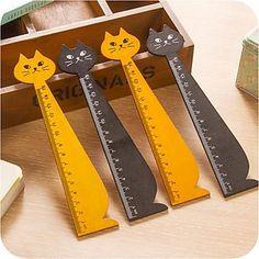 Cat Shape Wooden Ruler (Random Color) – USD $ 1.99