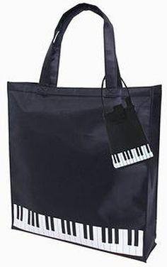 Piano keyboard tote bag