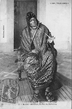 Africa | Béhanzin, former King of Dahomey (1841 - 1906).  Blida || Scanned vintage postcard; publisher Bensiman