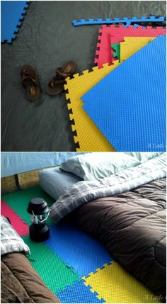 "Instead of really ""roughing it"" and ending up with an achy back and very little sleep, use foam pads to make then floor of your tent more comfortable. These little colorful foam tiles are not terribly expensive, and they will help you to avoid sleeping on rocks and twigs that may be under your tent. Plus, they help to spruce up the interior of your tent, too."