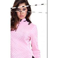 Jamie Sadock Bombshell Women's Long Sleeve Crinkle Dot Polo Golf Shirt-Bombshell pink and black