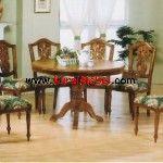 Set+Kursi+Makan+Dan+Meja+Bulat+Jati+Ukir