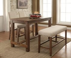 """4 pc Sania collection contemporary style natural tone finish wood counter height dining table set with padded chairs. Set includes table and 2 chairs and one bench with padded seats. Table measures 60"""" x 30"""" x 36"""" H. Chairs measure 19"""" x 22 1/2"""" x 42 3/4"""" H. Bench measures 44"""" x 16"""" x 25"""" H. Additional chairs also available separately. Some assembly..."""