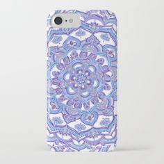 Lilac Spring Mandala - floral doodle pattern in purple & white iPhone & iPod Case