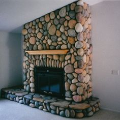 Image detail for -river rock energy efficient fireplace framed hearth and wall no ...
