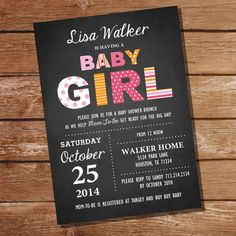 Chalkboard Baby Girl Shower Invitation  Girl by SunshineParties