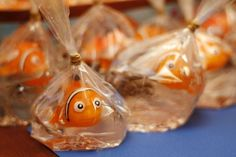 Fun Nemo favors! See more party ideas at CatchMyParty.com!
