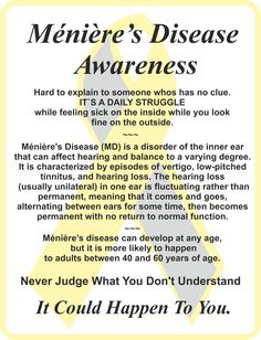 Meniere`s Awareness Meneires Disease, Tinnitus Symptoms, Inner Ear, Latin Words, Feeling Sick, Medical Conditions, Chronic Illness, Disorders, The Cure