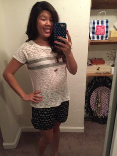 Dale Knit Top with Alilah Printed Short. as you can see, not a good combo ha! Stitch Fix Blog, Printed Shorts, Shirt Dress, T Shirt, Knitting, My Style, Prints, Tops, Dresses