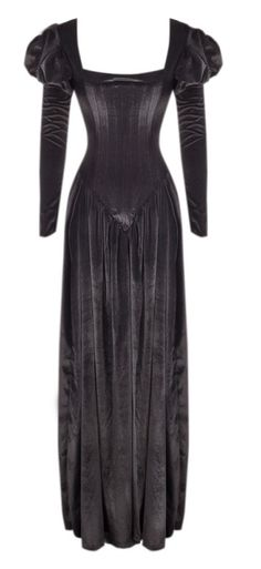 black velvet gown with puffy sleeves <3