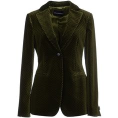 Emporio Armani Blazer ($335) ❤ liked on Polyvore featuring outerwear, jackets, blazers, green, long sleeve blazer, collar jacket, emporio armani, black velvet blazer and green velvet blazer