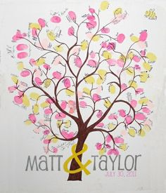 Thumbprint Tree on Stretched/Wrapped Canvas - Wedding Guest Sign in - x by TaylorSomae . Add names and baby shower date Chic Wedding, Wedding Reception, Our Wedding, Dream Wedding, Thumbprint Tree, Tree Canvas, Wedding Guest Book Alternatives, Anniversary Parties, Anniversary Ideas