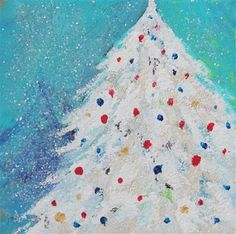 """Daily Paintworks - """"Winter Tree Delight, Holiday Artwork by Amy Whitehouse"""" - Original Fine Art for Sale - © Amy Whitehouse"""