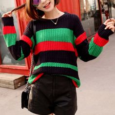 Chic Jewel Neck Long Sleeve Red and Green Striped Sweater For WomenSweaters & Cardigans | RoseGal.com